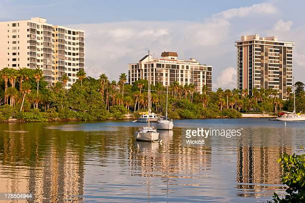 waterfront apartment buildings at sunset - palmetto florida stock pictures, royalty-free photos & images