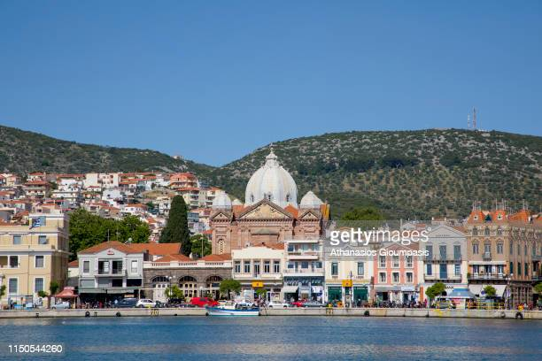 Waterfront at Mytilene town and harbour on May 19 2019 in Mytilene Greece