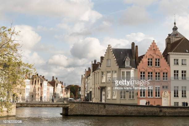 Waterfront Buildings and canal in Bruges, West Falders, Belgium, Europe
