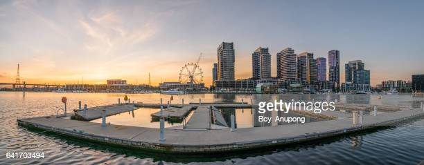 Waterfront City Docklands in Melbourne, Australia with panorama view during the sunset.