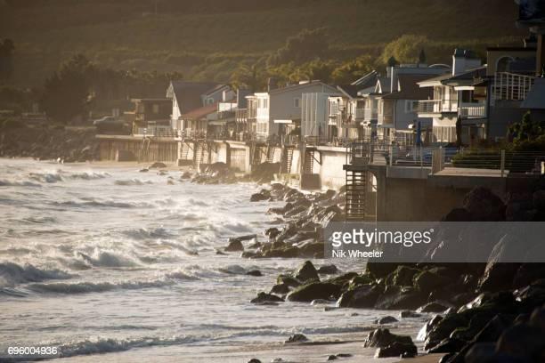 Waterfront homes along the California coast between Ventura and Santa Barbara