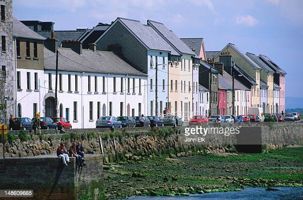 waterfront houses along galway bay. - galway stock pictures, royalty-free photos & images