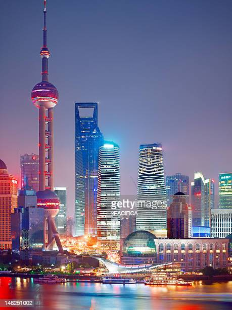 Waterfront night view of Pudong, China
