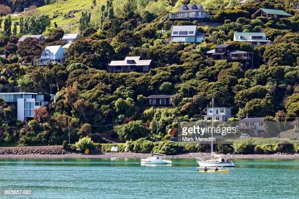 Waterfront of Akaroa Harbour and hillside homes, morning