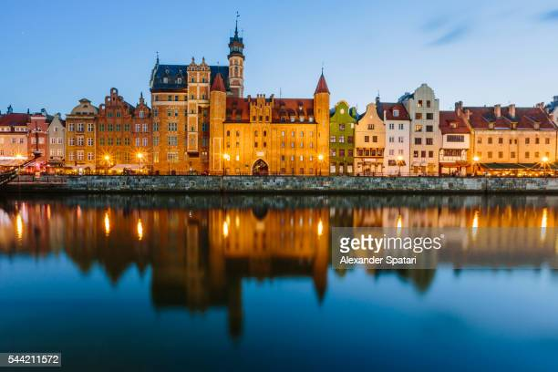 Waterfront of Motlawa river and Dlugie Pobrzeze in Gdansk, Poland