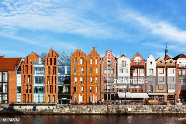 waterfront of motlawa river in gdansk, poland - motlawa river stock pictures, royalty-free photos & images