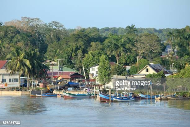 Waterfront of Suriname River towards Atlantic Ocean outlet, Suriname.