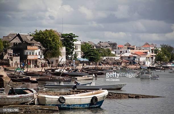 waterfront on lamu island - kenya stock pictures, royalty-free photos & images