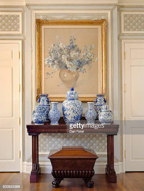 waterfront residence with traditional style interior design - decorative urn stock pictures, royalty-free photos & images