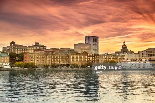 waterfront skyline scenic view of savannah georgia - savannah stock pictures, royalty-free photos & images