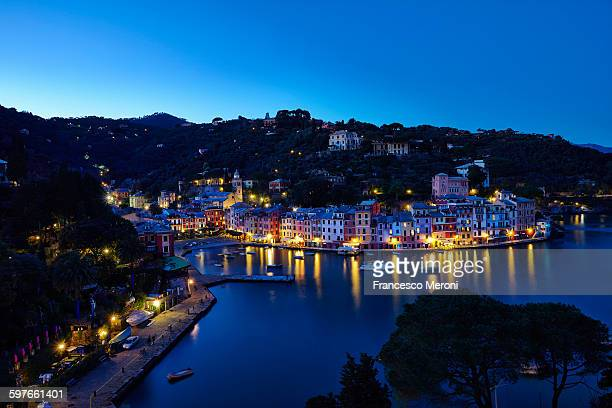 Waterfront town of Portofino at night, Italy