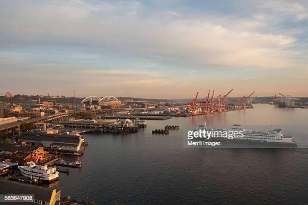 Waterfront with ferry in Elliott Bay near Port of Seattle