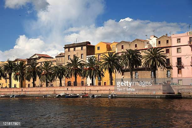 Waterfront with palm trees, Bosa, Sardinia, Italy