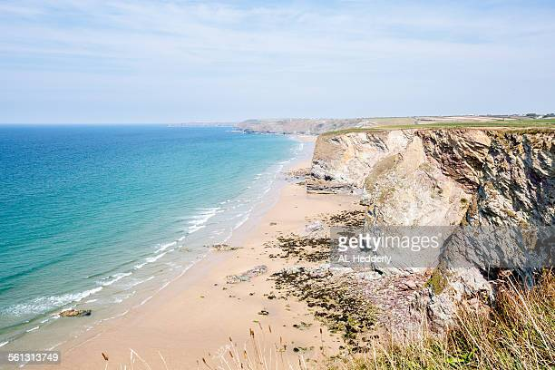 watergate bay near newquay - newquay stock pictures, royalty-free photos & images