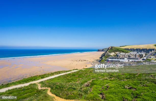 watergate bay seaside resort cornwall - newquay stock pictures, royalty-free photos & images
