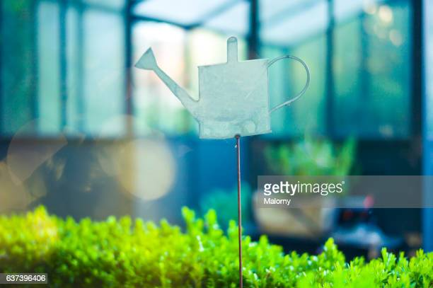 Watering can, decoration, sign or symbol in front of a greenhouse