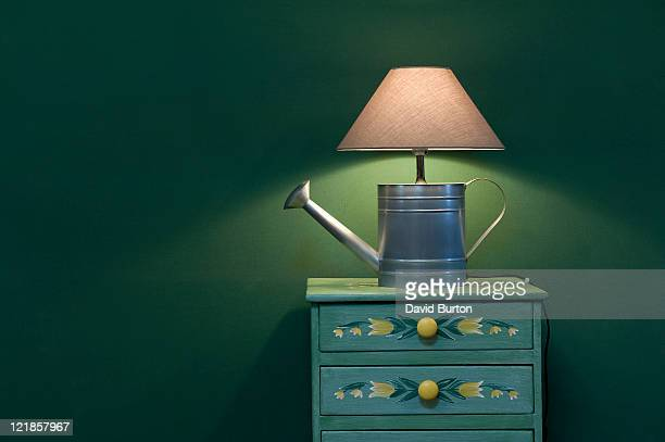 Watering Can Lamp on Hand Painted Chest of Drawers