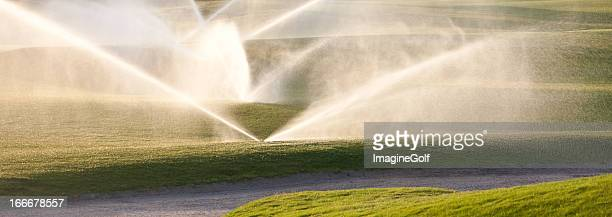 Watering the Golf Course Green and Fairway