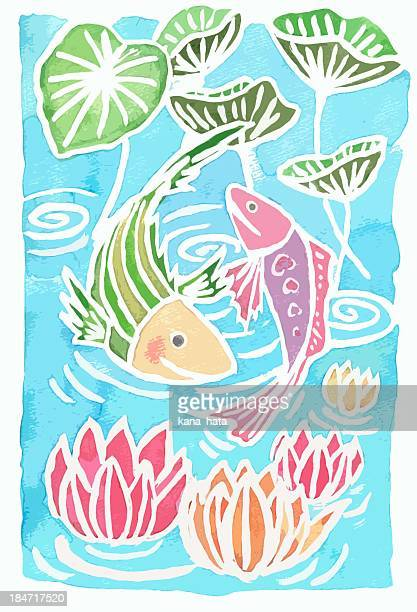 Waterlily and Fishies, Asian style illustration
