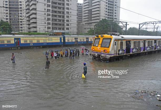 Waterlogging on railway track due to heavy rain at Kurla on August 29 2017 in Mumbai India Mumbai is experiencing nonstop rainfall over the last two...