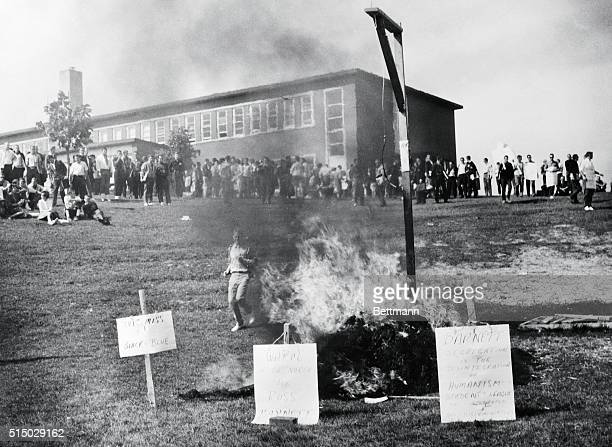Waterloo, Ontario: Students at Waterloo Lutheran University jeer as an effigy of Mississippi Governor Ross Barnett is burned on the campus. About 800...