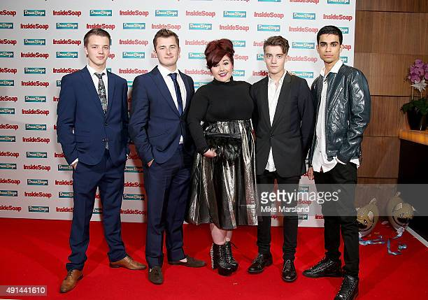Waterloo Road cast Joe Slater Max Bowden Rebecca Craven Zebb Dempster and Armin Karima attend the Inside Soap Awards at DSKTRT on October 5 2015 in...