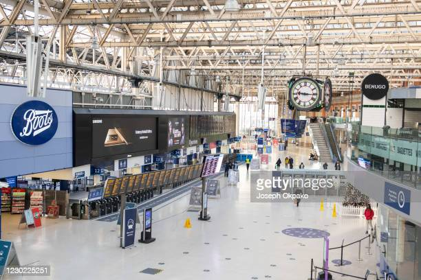 Waterloo Station looks deserted as members of the public are urged to stay home as new Lockdown measures are anounced on December 20, 2020 in London,...