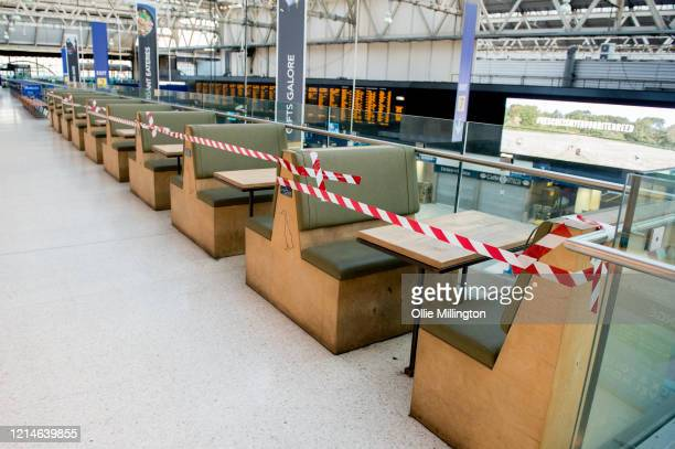 Waterloo Train Station seen almost empty during rush hour on March 24 2020 in London British Prime Minister Boris Johnson announced strict lockdown...