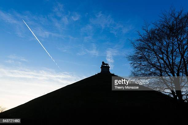Waterloo, Walloon Brabant, Wallonia ,Belgium. March 12, 2015. -- The Lion's Mound on the battlefield of Waterloo. Lion's Hillock is an artificial...