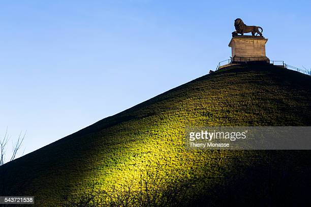 Waterloo Walloon Brabant Wallonia Belgium March 12 2015 The Lion's Mound on the battlefield of Waterloo Lion's Hillock is an artificial hill raised...