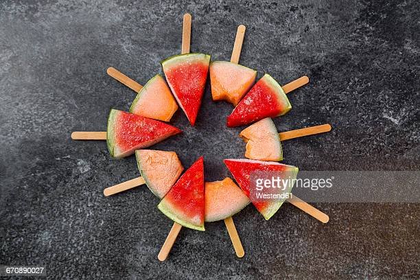 Watermelon and rockmelon popsicles