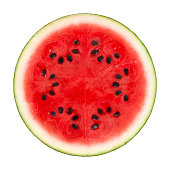 Watermelon Cross Section On White