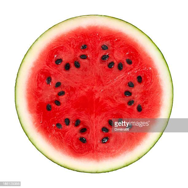 Wassermelonen Querschnitt auf Weiß