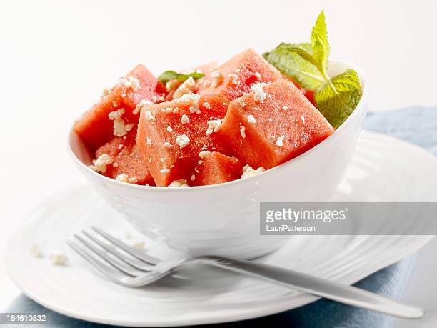 watermelon salad - feta cheese stock pictures, royalty-free photos & images