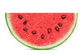watermelon slice isolated on white background, clipping path, full depth of field