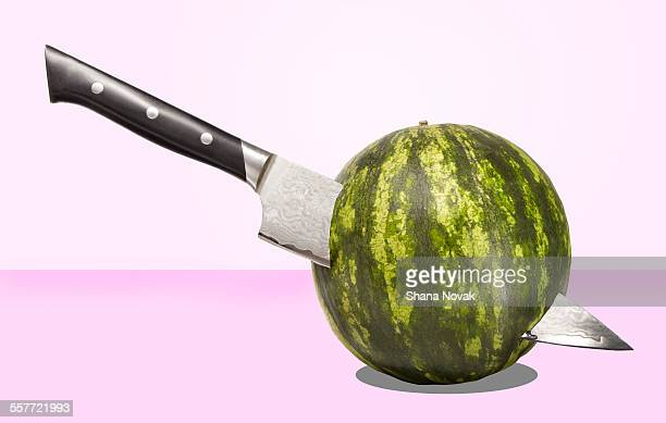 Watermelon Sliced by Knife