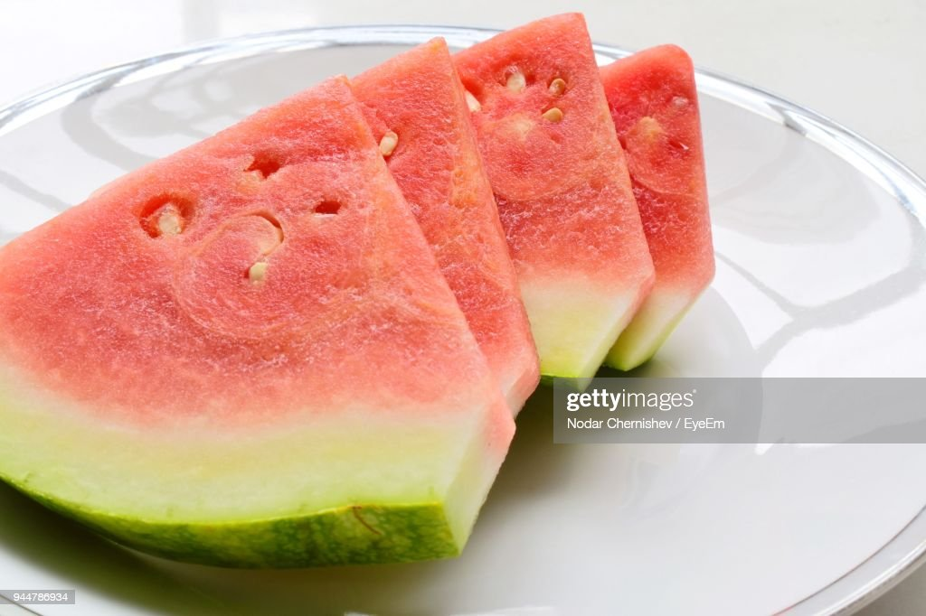 Watermelon Slices In Plate On Table : Stock Photo