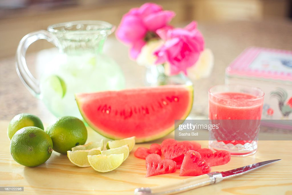 Watermelon Smoothie Preparation : Stock Photo