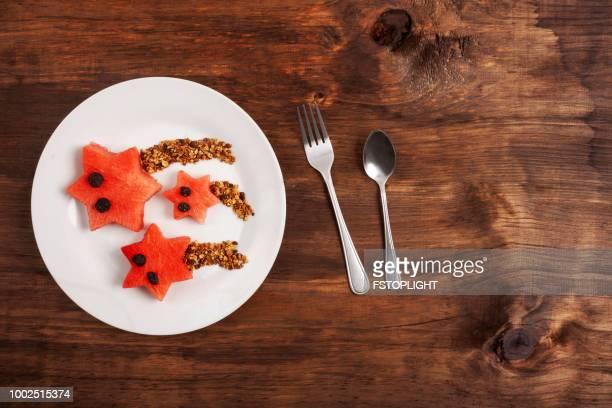 Watermelon with granola