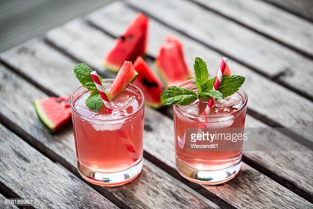 Watermelon-Hugo, Mojito in glasses with drinking straw