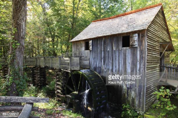 watermill amidst trees at forest - pigeon forge stock pictures, royalty-free photos & images