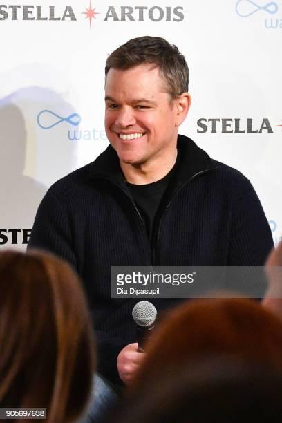Waterorg cofounder Matt Damon speaks onstage at the Stella Artois Waterorg PreSuper Bowl Party on January 16 2018 in New York City