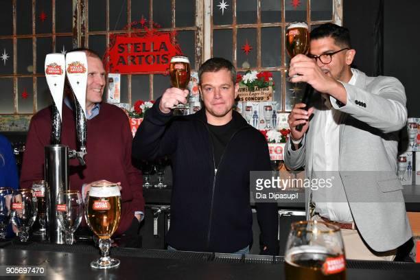 Waterorg cofounders Gary White and Matt Damon attend the Stella Artois Waterorg PreSuper Bowl Party on January 16 2018 in New York City
