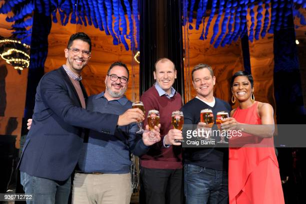 Waterorg CoFounders Matt Damon and Gary White Harry Lewis Vice President Stella Artois Miguel Patricio CMO AB InBev and journalist Tamron Hall join...
