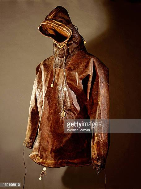 Waterproof sealskin parka with cords around the wrists face and waist Eskimo