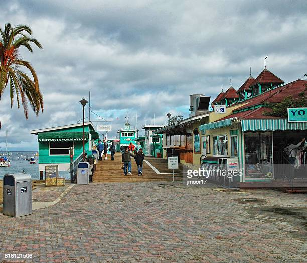 waters edge with shops people and boats in water - catalina island stock photos and pictures