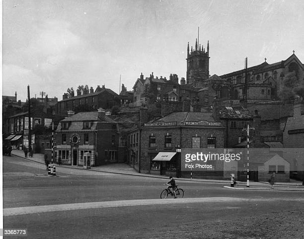 Waters Green and the Pasrish Church in Macclesfield in Cheshire a town long associated with silk production