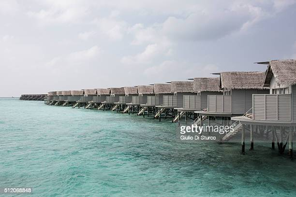 Waters villas along the beach on February 2nd 2016 at Adaaran Select Hudhuranfushi Maldives Most Chinese visiting the Maldives spend two nights in...