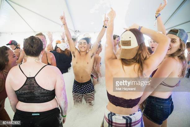 Watershed Music Festival attendees play in the Foam Party at the Gorge Amphitheatre on July 29 2017 in George Washington