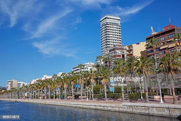 Waterside of Alicante port under blue sky